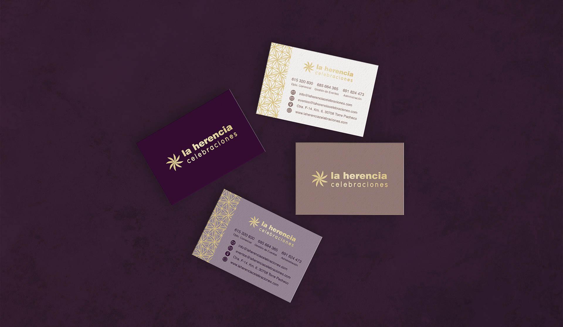 la herencia diseño tarjetas de visita boda